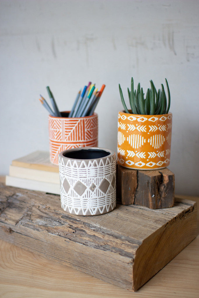 set of three vases with geometric patterns