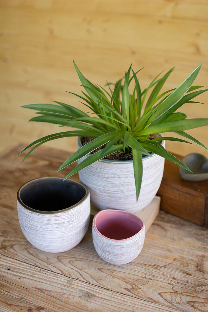 set of three ceramic planters