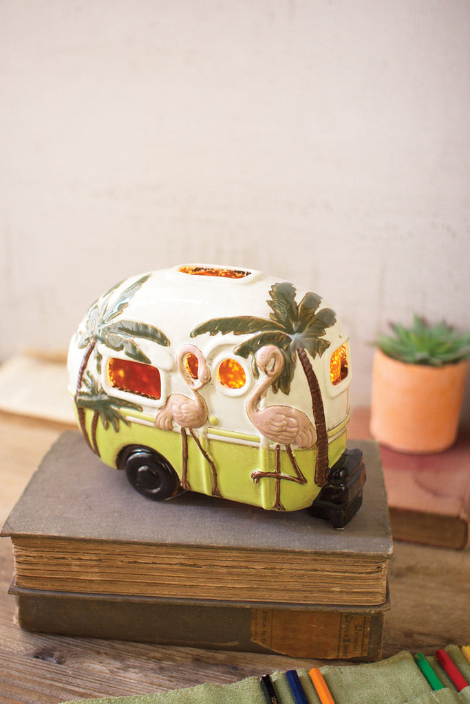 ceramic flamingo camper night light
