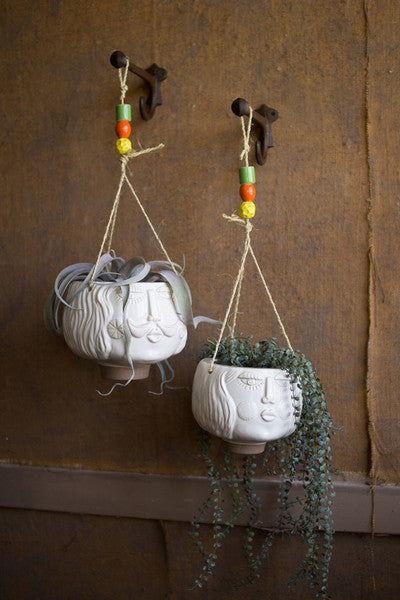 set of 2 ceramic white hanging face planters