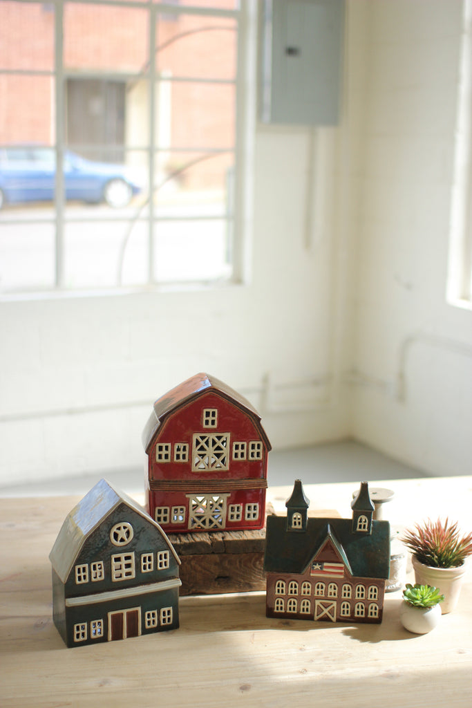 Ceramic Barns - Set of 3