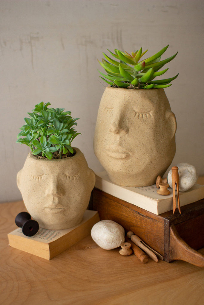 Ceramic Face Planters - Set of 2