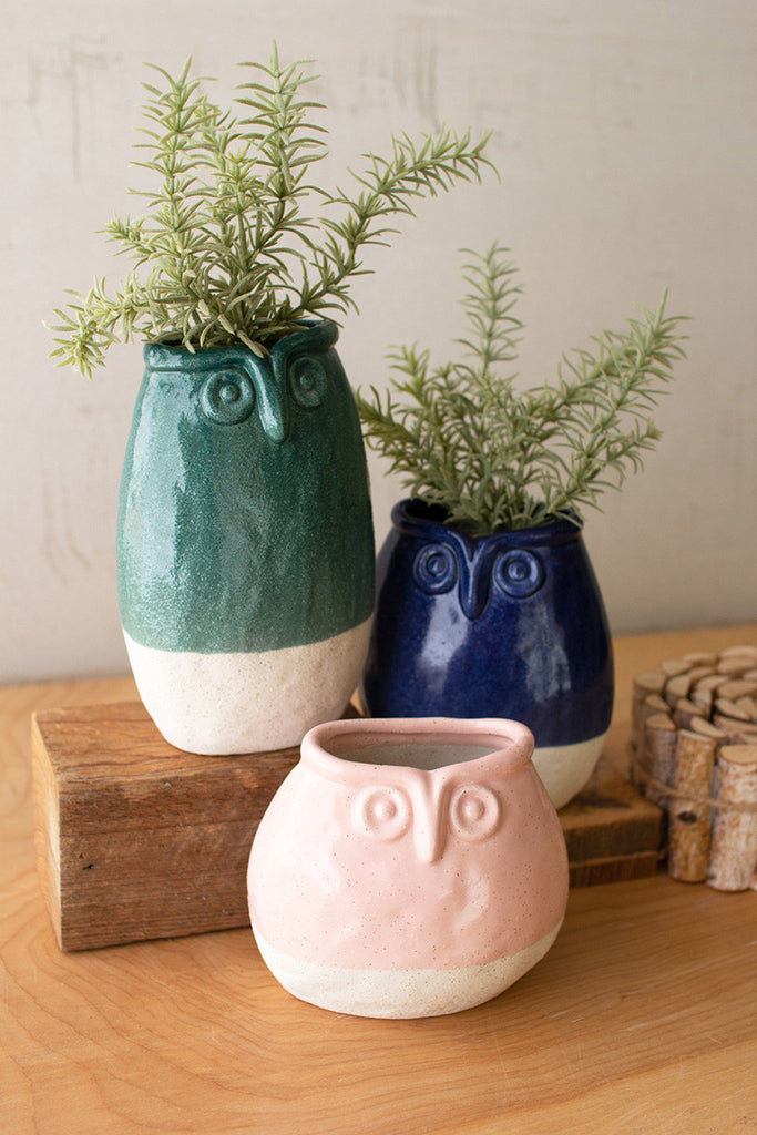 Ceramic Owl Planters - Set of 3