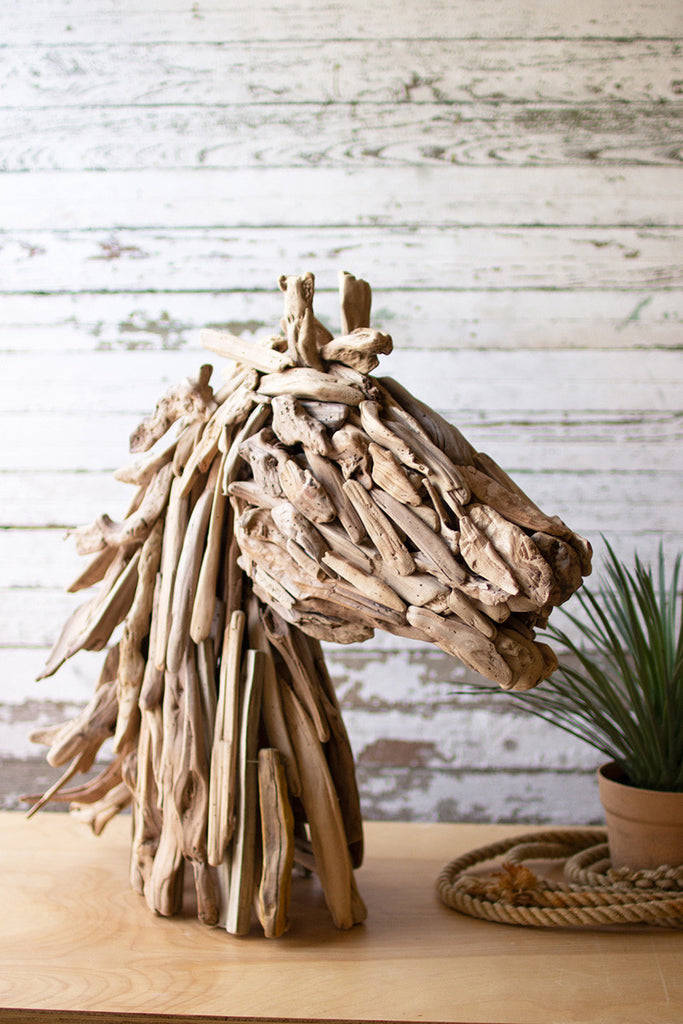 driftwood horsehead table sculpture