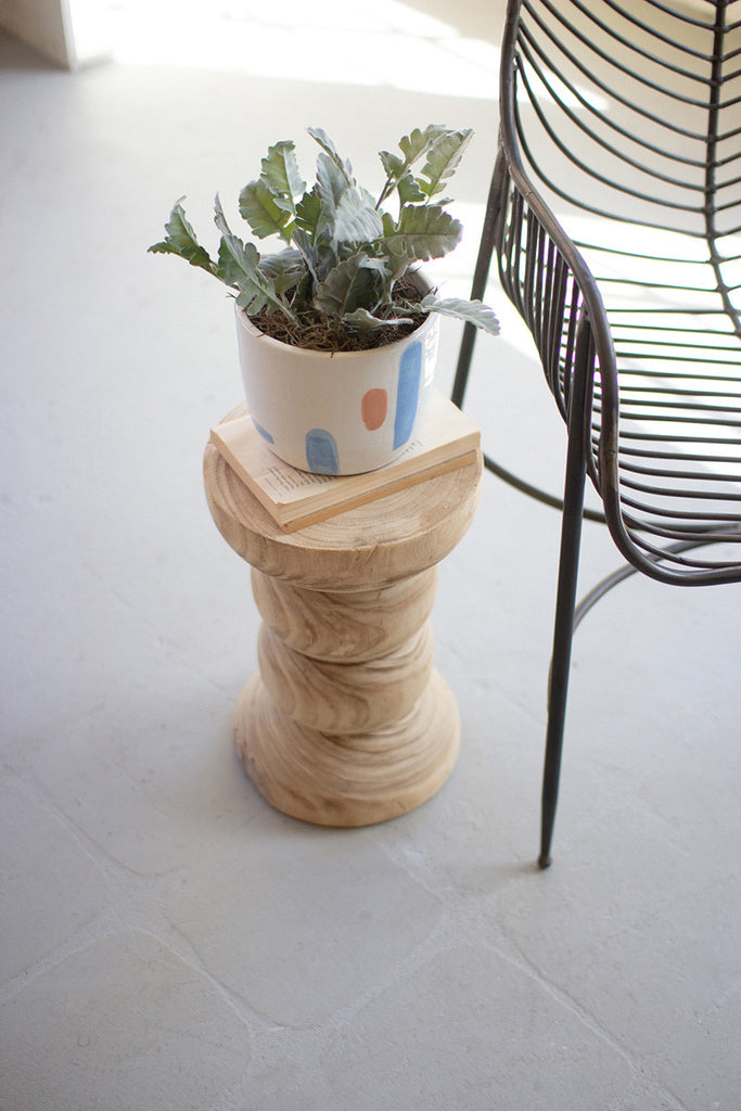 hand-carved wooden planter/pedestal