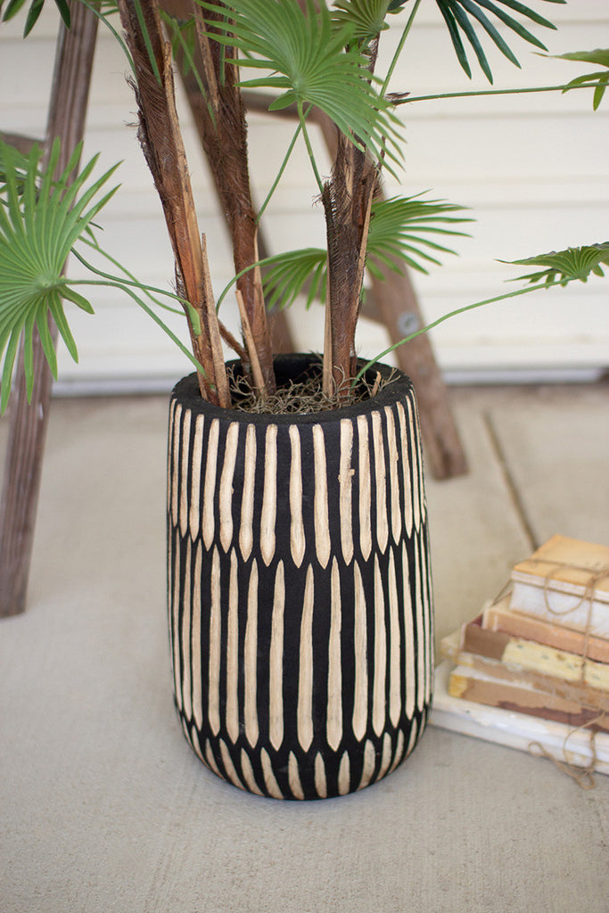 hand carved black and white wooden vase \ large