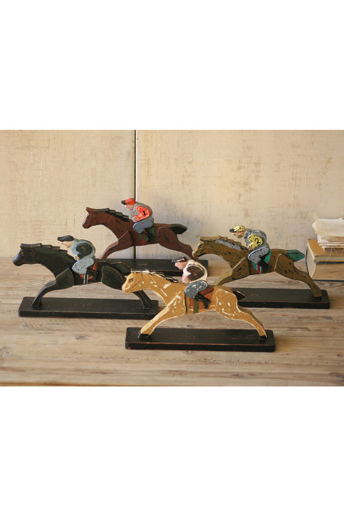 set of 4 wooden horse and jockeys