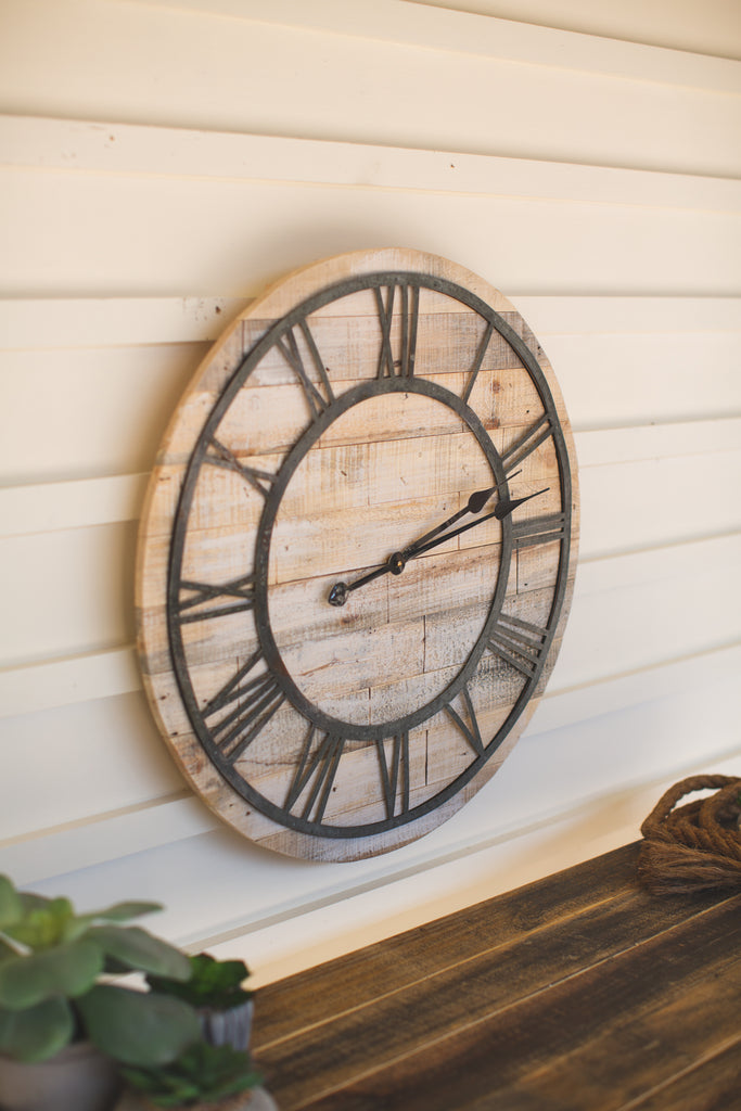 Wood And Metal Roman Numeral Clock