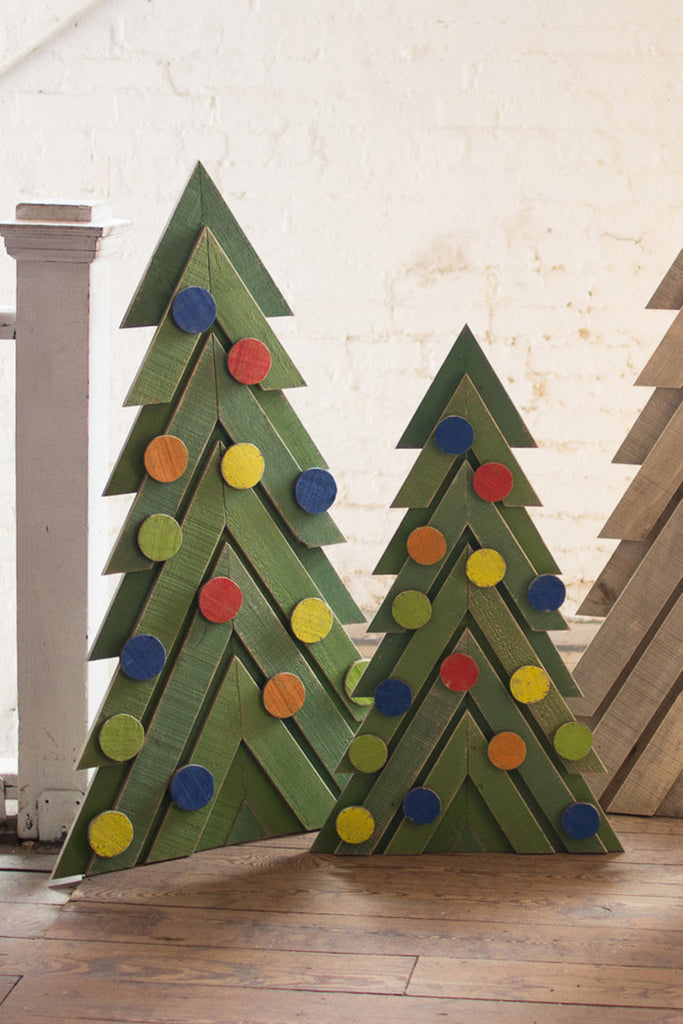set of two green wooden christmas trees