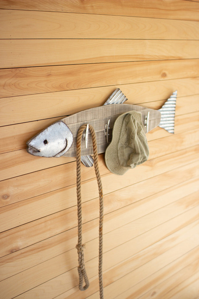 wood & metal fish coat rack