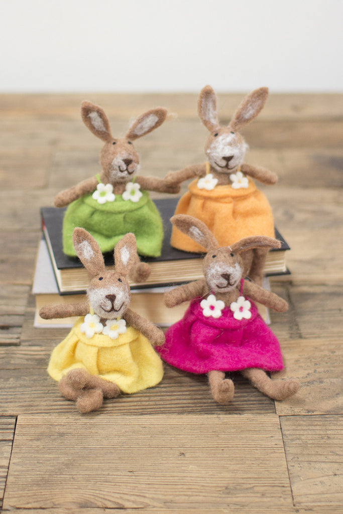 set of 4 felt rabbits \ one each color