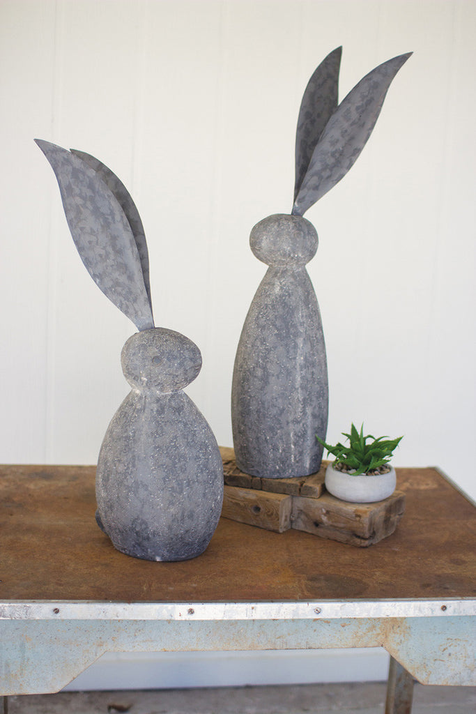 faux stone rabbit with tall metal ears \ short