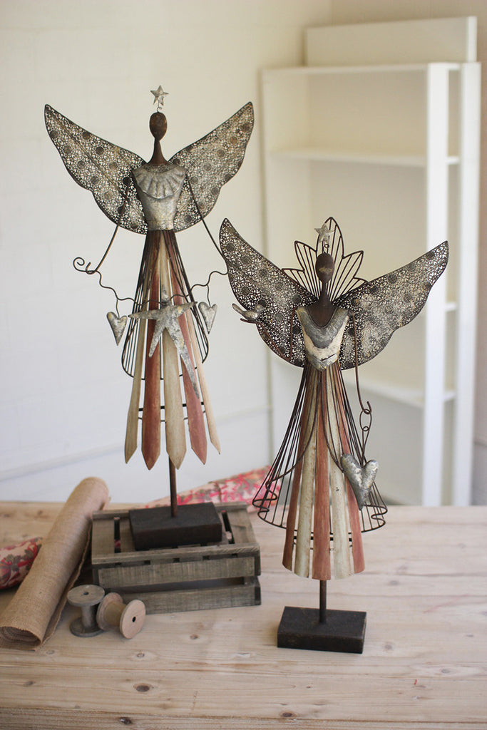 set of 2 galvanized angels