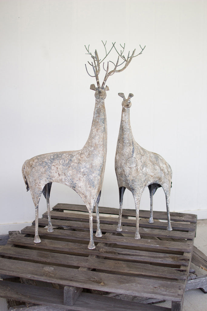 set of 2 rustic metal deer