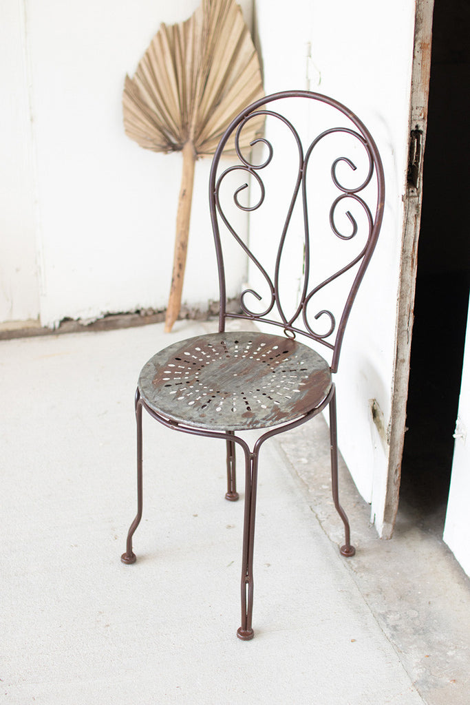rustic metal bistro chair