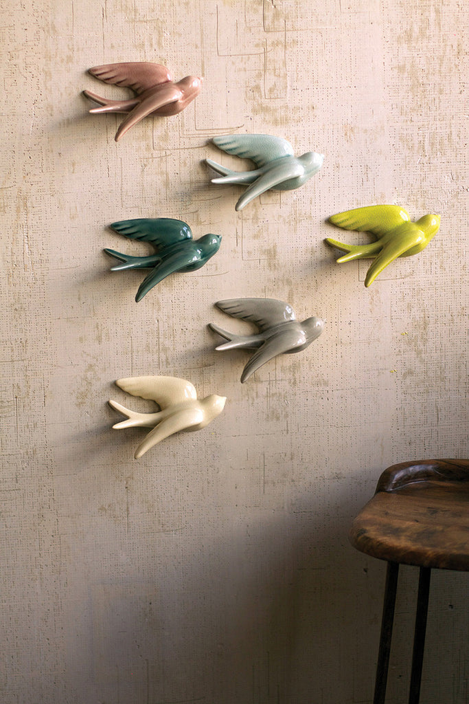 set of 6 hanging ceramic swallows