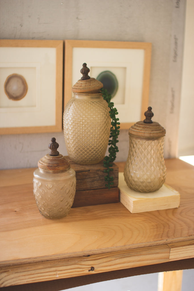 Glass Canisters With Wooden Finial Tops - Set of 3
