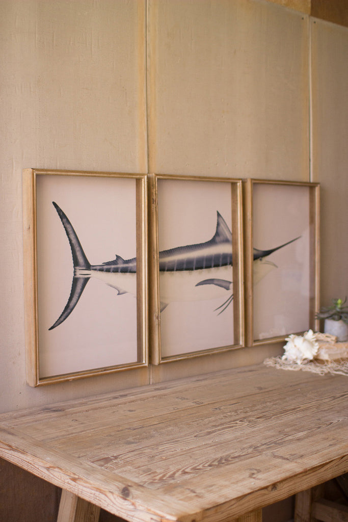 framed marlin triptych print under glass