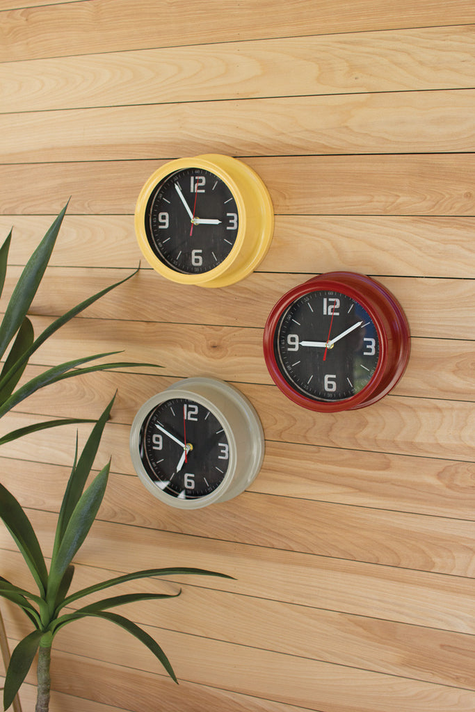 set of 3 painted metal schoolhouse clocks