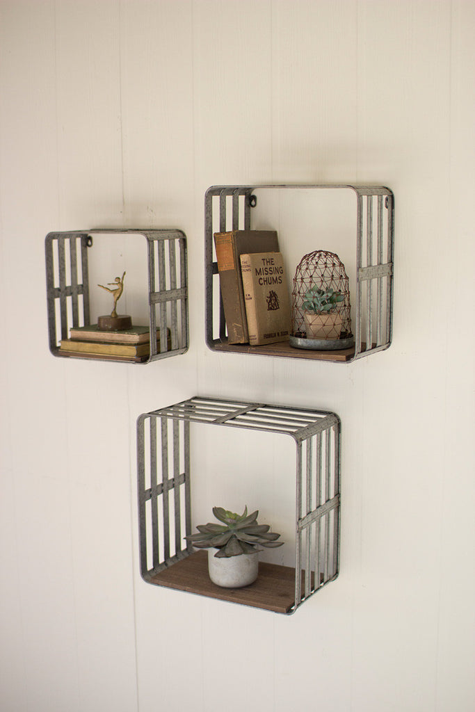 set of 3 slat metal and wood display crates