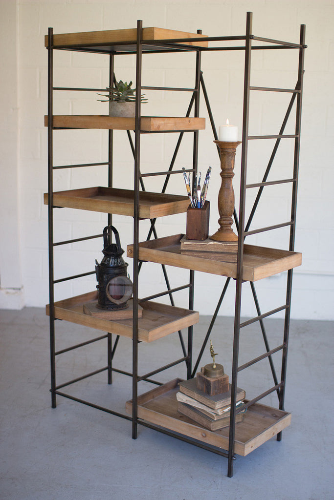 iron shelving unit \ six adjustable wooden shelves