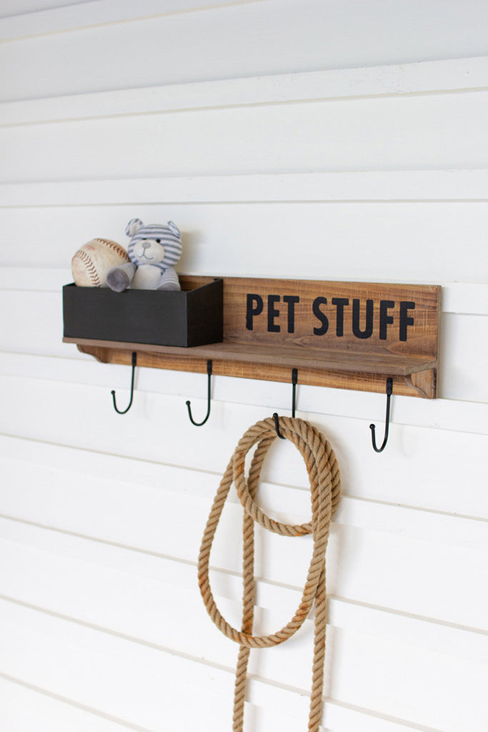 wood and metal pet stuff shelf