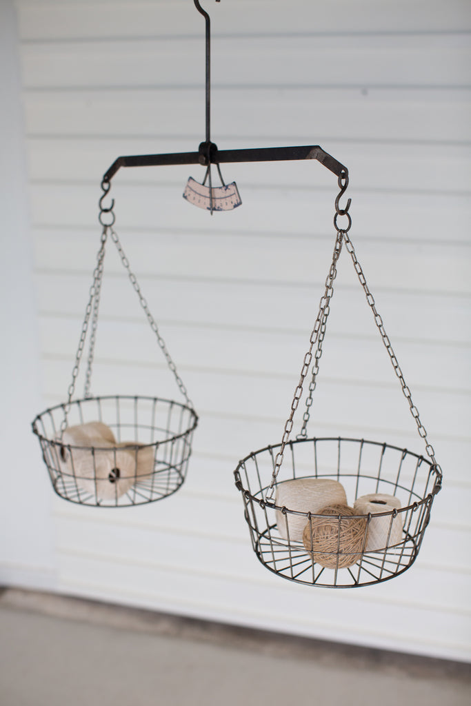 Wire Hanging Baskets - Set of 2