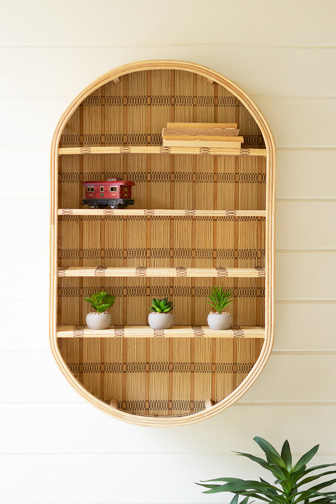 Oval Rattan Wall Shelf