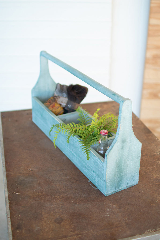 wooden turquoise five pocket trug