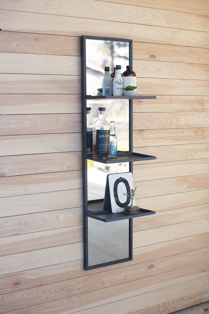 tall vertical mirror with metal shelves