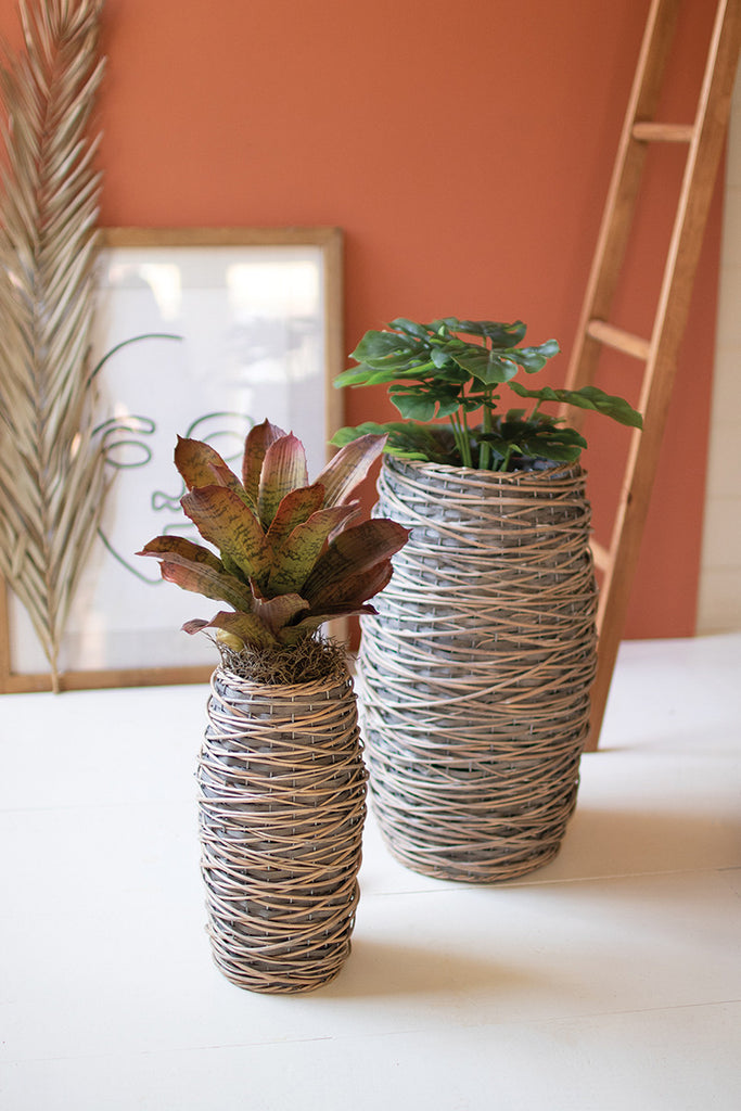 Tall Oval Rattan Planters - Set of 2