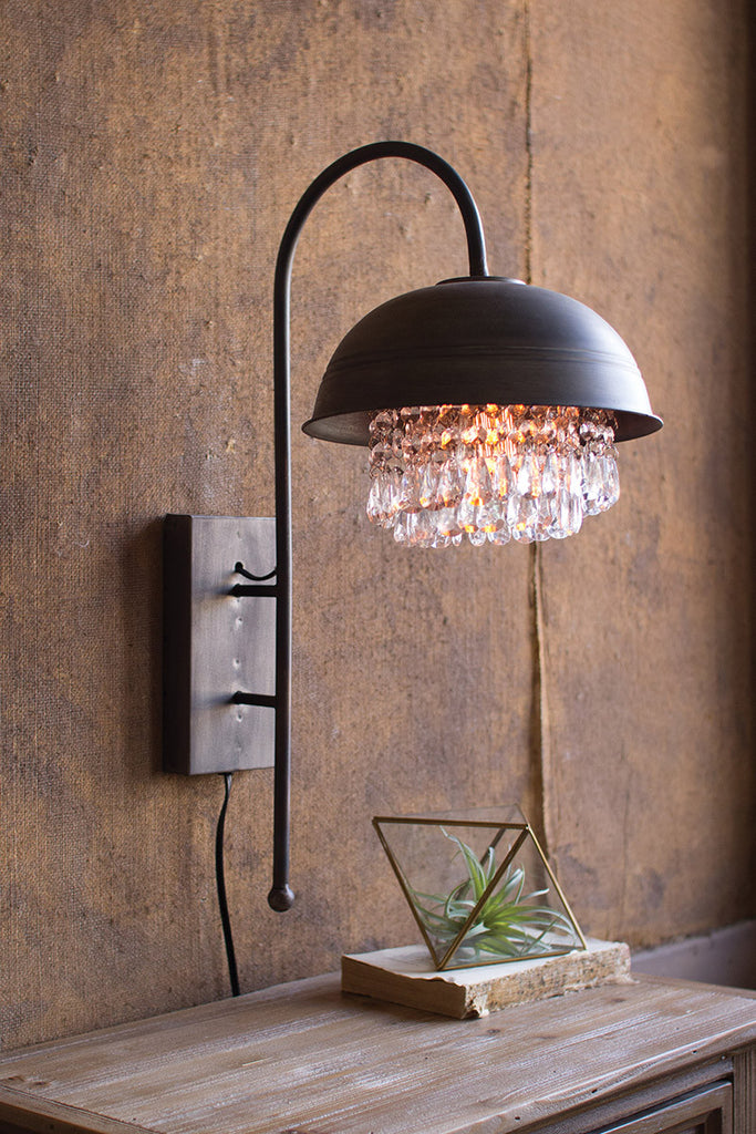 metal dome wall lamp with hanging gems