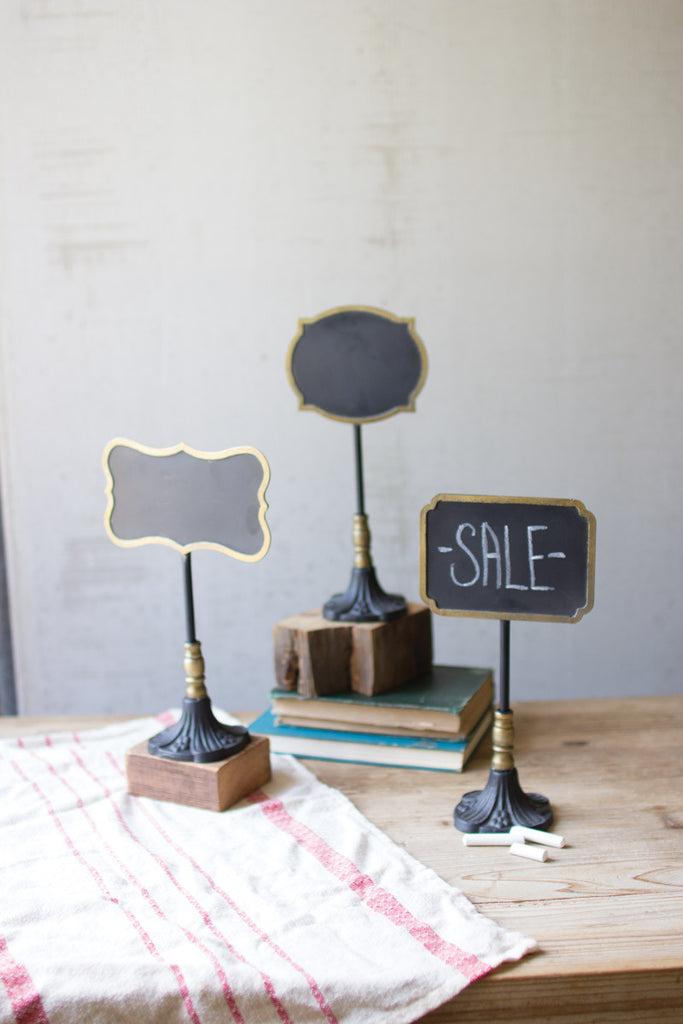 set of 3 chalk boards on stands \ one each design