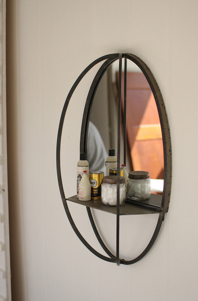 oval mirror with wall shelf