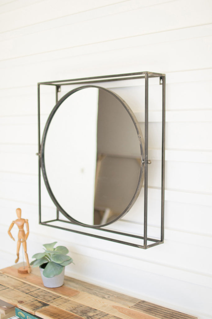 round adjustable mirror in a square metal frame