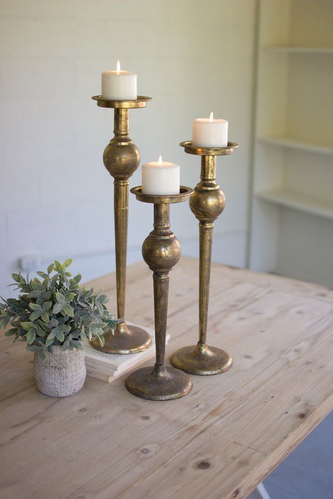 set of 3 antique brass finish candle stands