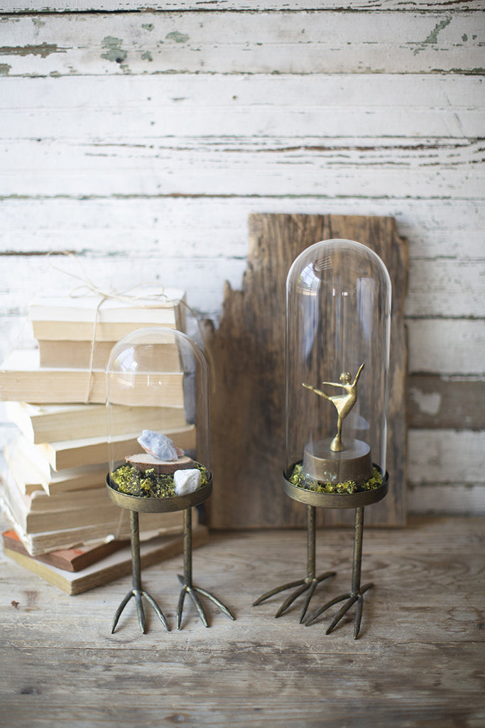 set of 2 glass cloches with metal bird feet