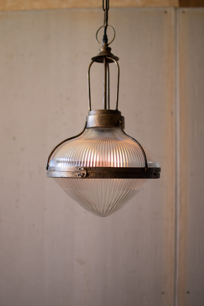Metal and Glass Dome Pendant Light