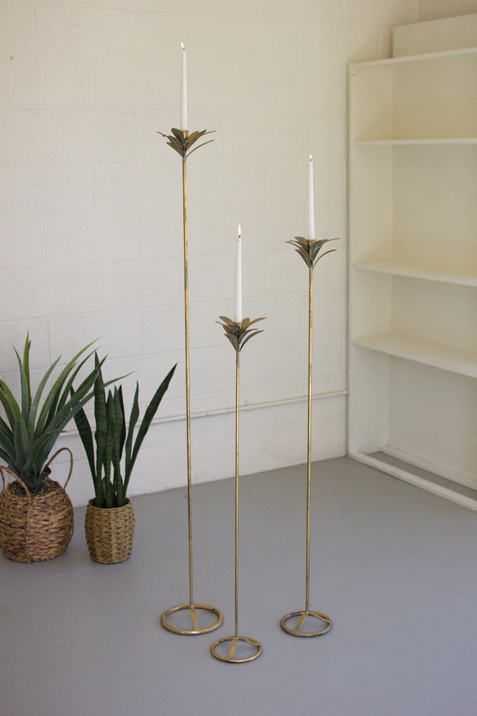 set of 3 tall antique brass palm taper candle towers