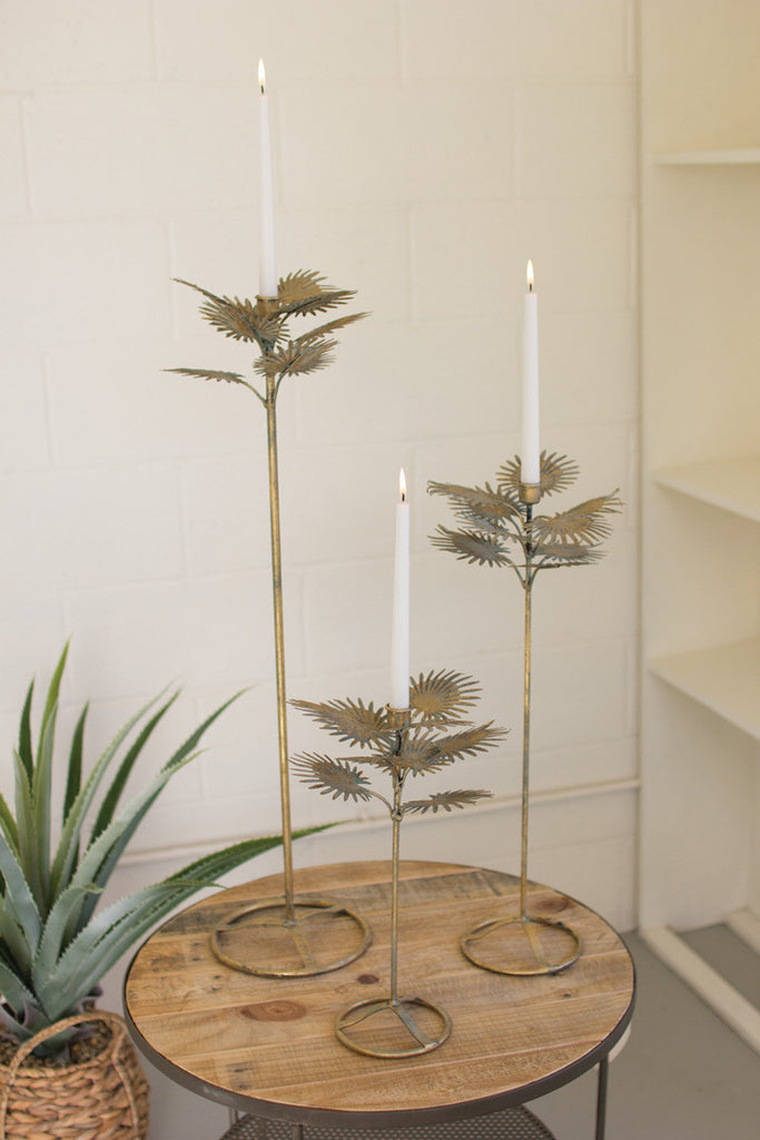 set of 3 table top antique brass palm taper candle towers