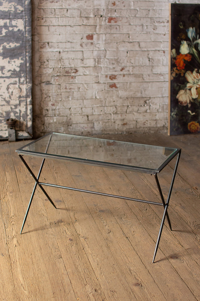 rectangle metal console table with glass top \ small
