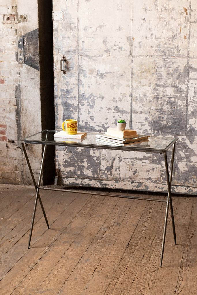 Rectangle Metal Console Table With Glass Top - Large