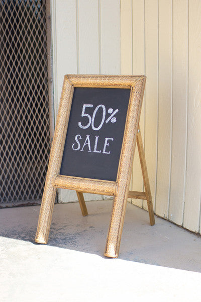 tabletop chalkboard with woven cane frame
