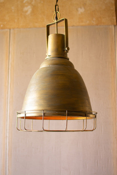 antique gold pendant light with cage