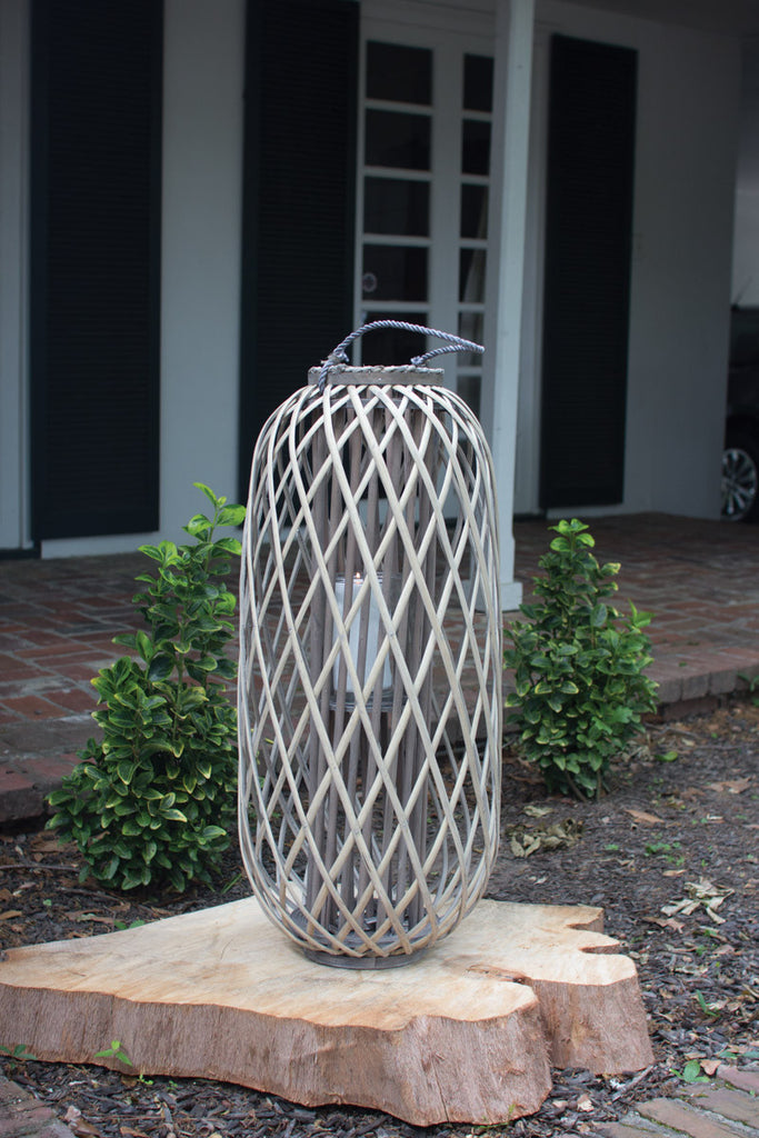 tall grey willow lantern with glass \ large