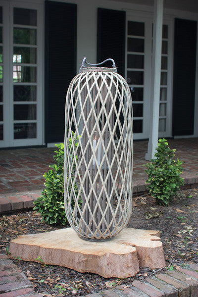 tall grey willow lantern with glass \ small