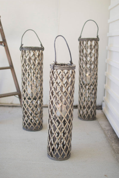 grey willow lantern with glass \ large