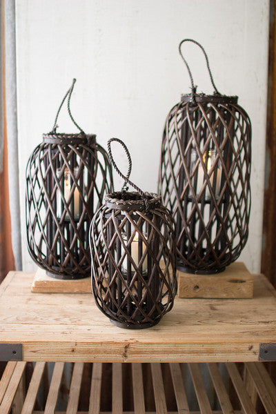 dark brown willow lantern with glass \ large