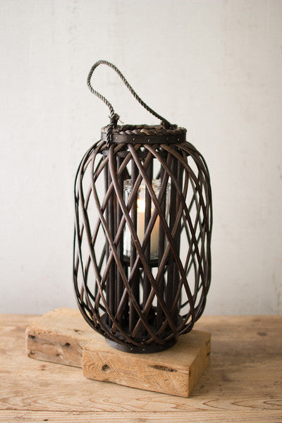 dark brown willow lantern with glass \ medium