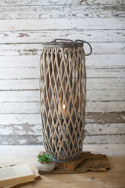tall grey square willow lantern \ large